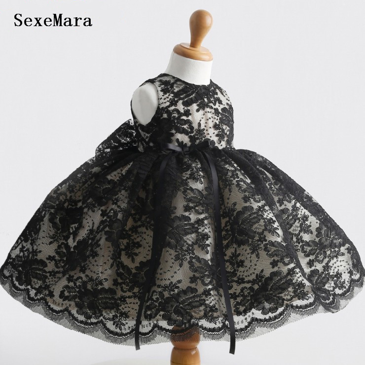 Black Lace Baby Girl Dress Baby 1 Year Birthday Party Dress Red Thanksgiving Gowns Christening Dress Baptism Gown