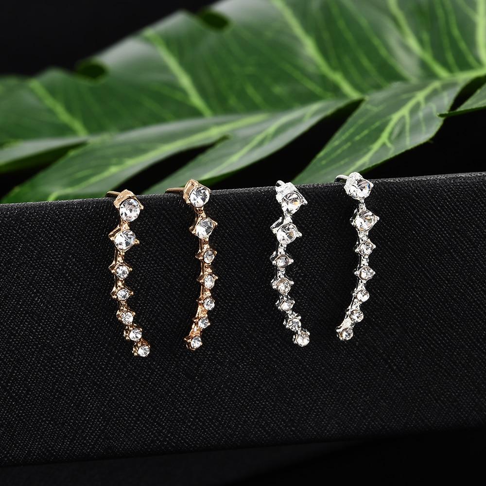 2020 NEW 1pair rhinestone ear cuff  Wrap earring gold piercing ears clips cartilage statement clip earring for women pendientes 1