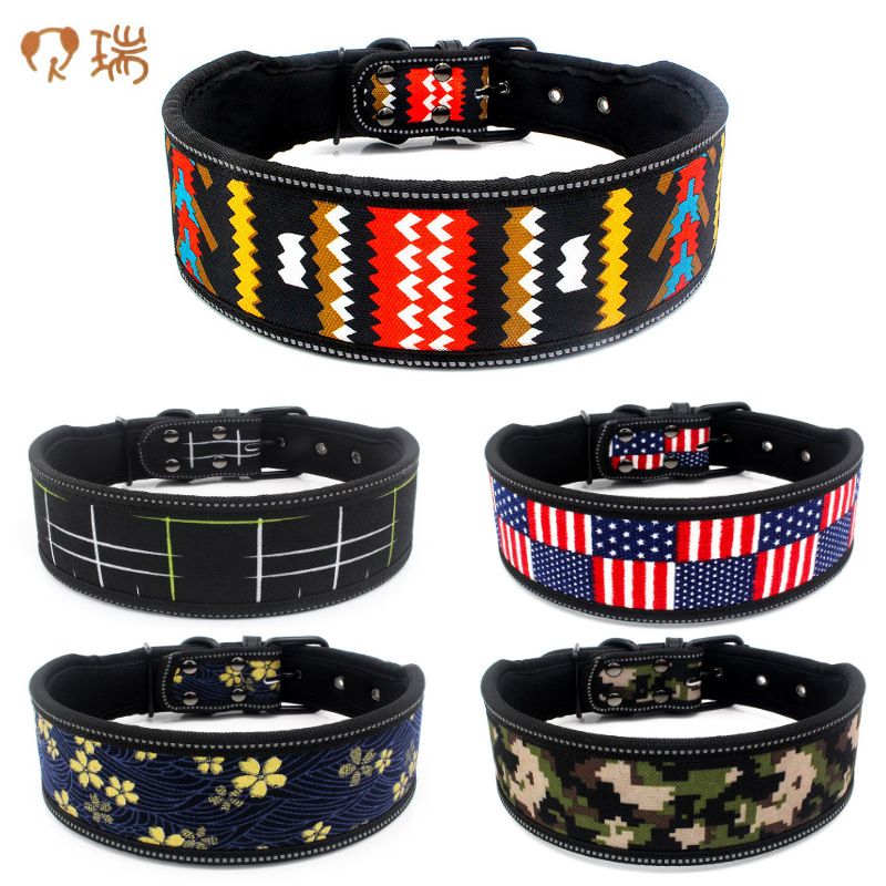 Comfortable Underlay Bag Light-reflecting Pet Collar In Large Dog Collar Printed Light Board Dog Neck Ring Berry New Style