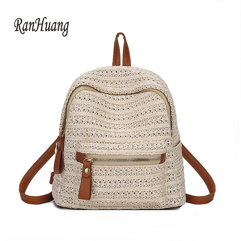 RanHuang New 2020 Summer Fashion Women's Straw Backpack Girls Small Backpacks Beach Bags Travel Bags Beige Mochila Feminina