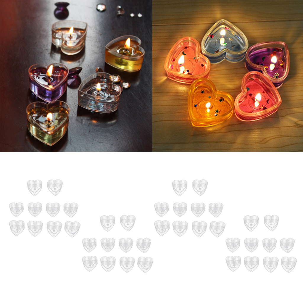 40x Heart Shaped Plastic Clear Tealight Cup Candle Wax Container Candle Mold