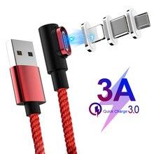 Магнитный кабель 90 градусов usb c Micro usb type C кабель для быстрой зарядки l-линия Micro usb type-C магнитное зарядное устройство для iphone X xiaomi