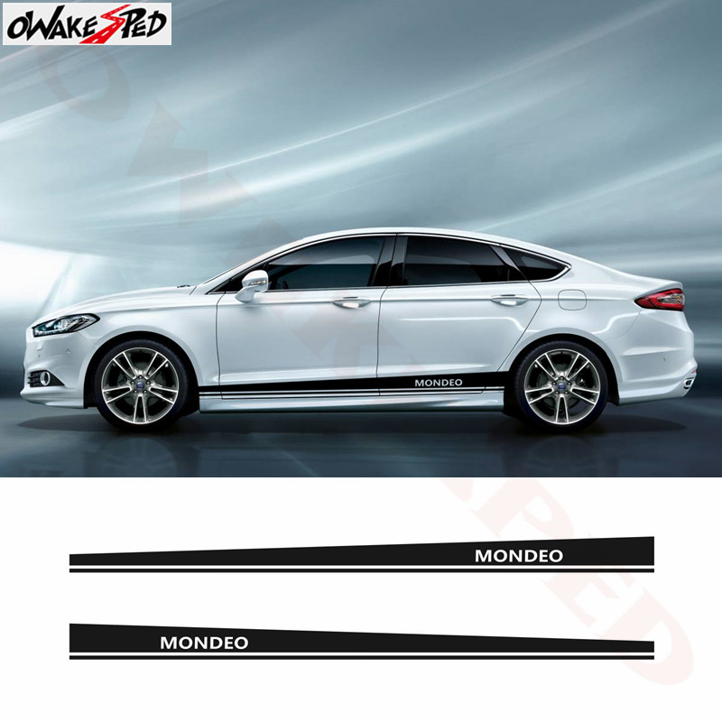 Sport Stripes Stickers Auto Body Door Decor Decals Car Side Stripes Skirt Vinyl Decal For Ford Mondeo MK3 MK4 MK5 Car Sticker