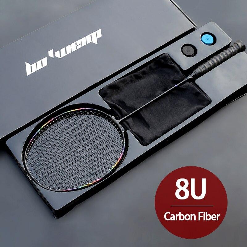 Супер-светильник 8U из углеродного волокна, ракетки для бадминтона с сумками, профессиональные спортивные ракетки для взрослых и детей-0
