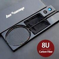 Super leve 8u fibra de carbono completo raquetes de badminton com sacos corda profissional raquete amarrada padel esportes para adultos crianças
