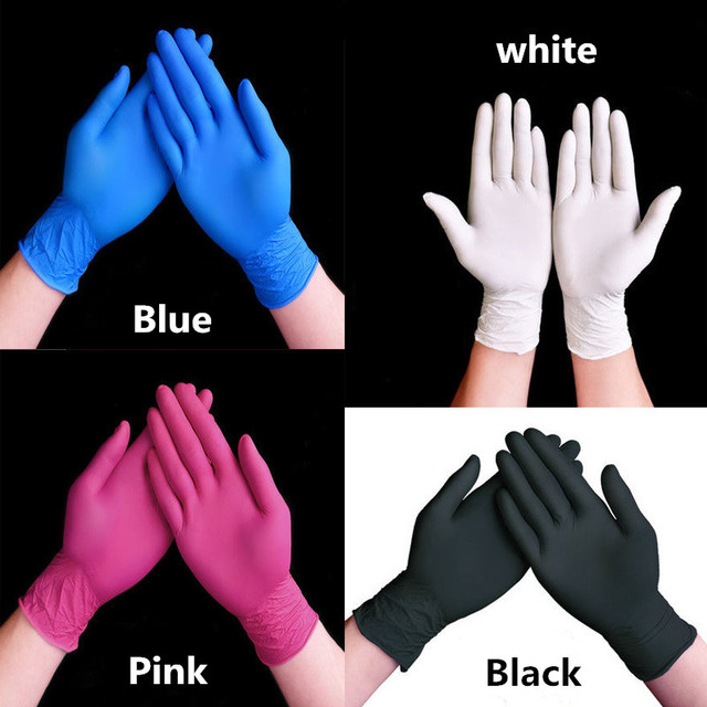 50/100pcs black white Blue disposable nitrile gloves for household cleaning product industrial washing tattoo gloves without box