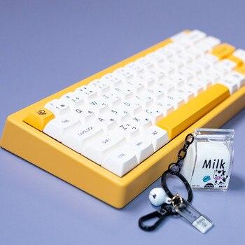 1 set honey and milk theme keycaps for MX switch mechanicak keyboard PBT dye subbed Neon Japanese minimalist white key caps XDA