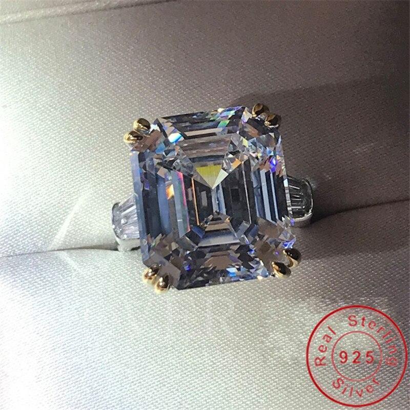 Choucong véritable 925 bague en argent Sterling pour femmes Emerad cut 12ct Sona Diamon cz bague de fiançailles bague de mariage bijoux de luxe