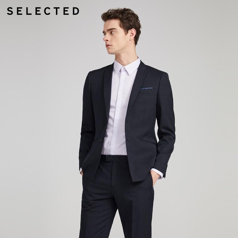 SELECTED Men Slim Fit Sheep Wool Plaid Jacket Business Casual Blazer S|42015Y509