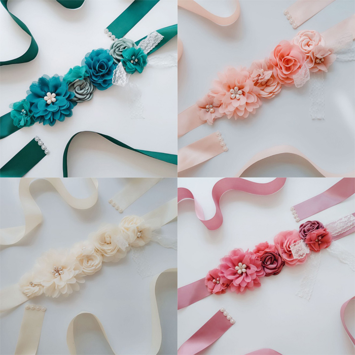 Bridesmaid Flower Girl Floral Ornaments Sash Waistband Pearl Accessories Bridal Applique Prom Dress Beaded Sashes Wedding Belt