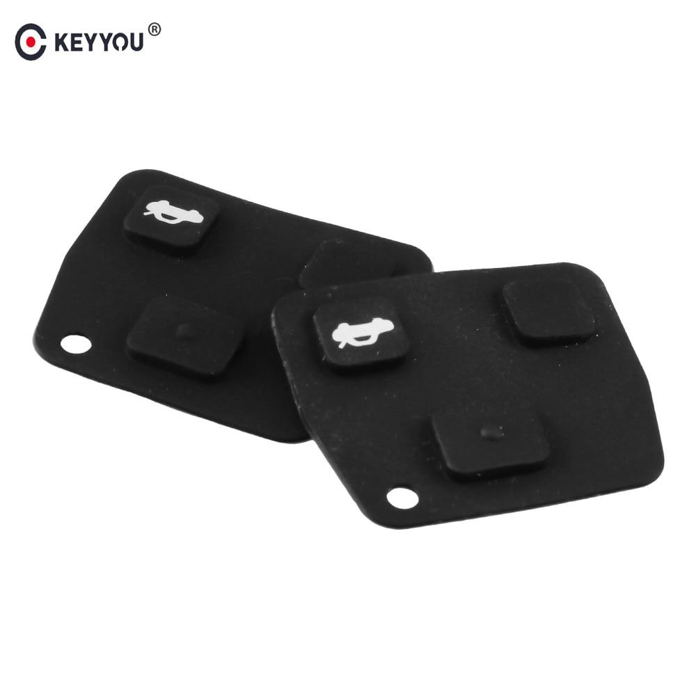 KEYYOU 2X For Toyota Avensis Corolla Camry Yaris Prado For Lexus Rav4 Replacement Remote Car Key Fob Silicon Rubber 3 Button Pad