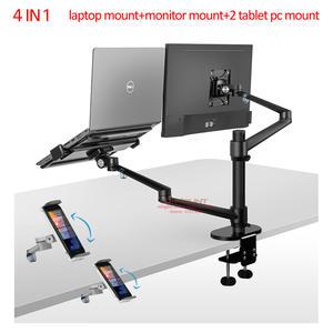OL-3T Aluminum 3 in 1 Height Adjustable Desktop Dual Arm 17-32 inch Monitor Holder+10-17