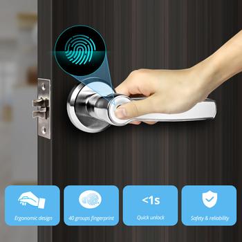 Towode lewego prawego uchwytu Smart Unlock 360 stopni zamek do drzwi z czytnikiem linii papilarnych bezpieczeństwo w domu system kontroli dostępu przed kradzieżą tanie i dobre opinie S158001 Left Handle Right Handle Low pressure warning 4 8V red LED flashing 5 times in succession Resolution 508DPI 360° live fingerprint recognition