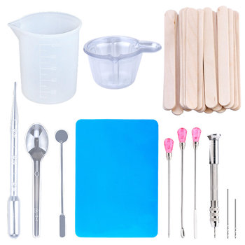 Epoxy Resin Jewelry making Tools Set Silicone Workbenches Plastic beaker drilling bits Wood stick Disposable Cups Dispenser - discount item  30% OFF Jewelry Tools & Equipments