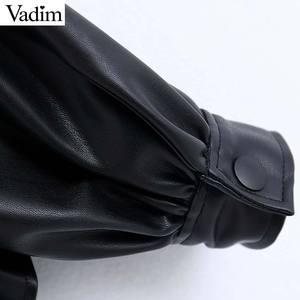 Image 3 - Vadim women stylish PU leather blouses long sleeve turn down collar shirts female office wear basic tops blusas LB722