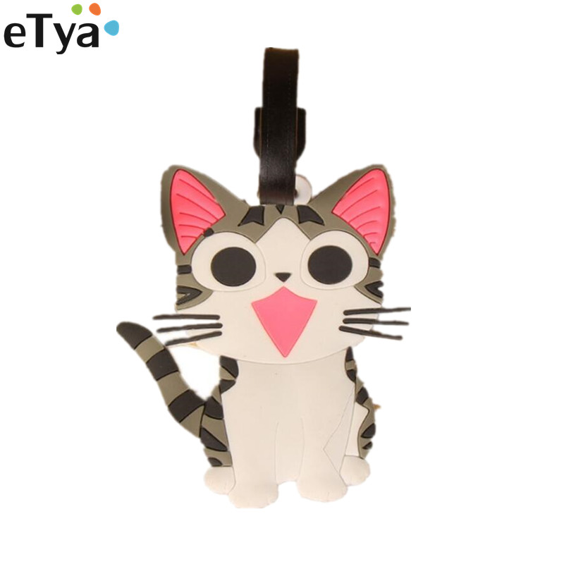 ETy Women Men Cartoon Cute Luggage Tag Travel Accessories Silicone Fashion Travel Backpack Suitcase Baggage Boarding Tags Label