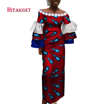 African Clothes For Women Off the Shoulder African Dashiki Dresses Cotton Dress African Print Dress Big Size Natural 6xl WY6077