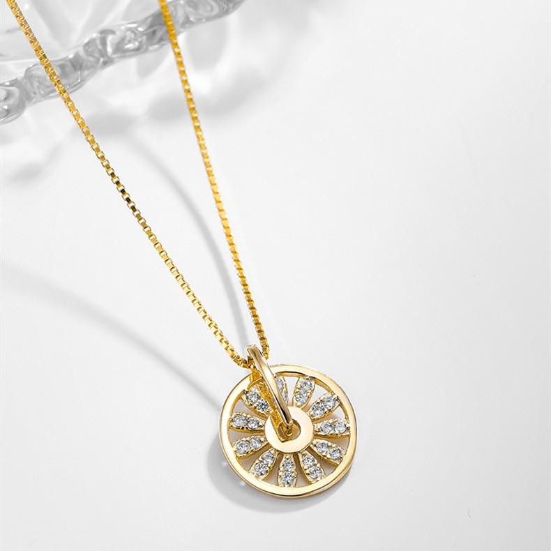 Korean new design fashion jewelry simple round hollow flower small daisy copper inlaid zircon pendant elegant female necklace