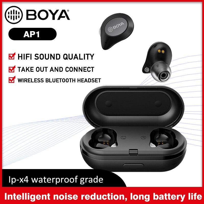 BOYA BY-AP1 Bluetooth 5.0 sans fil écouteurs avec micro véritable stéréo TWS casque bruit annuler étanche écouteurs pour téléphone intelligent