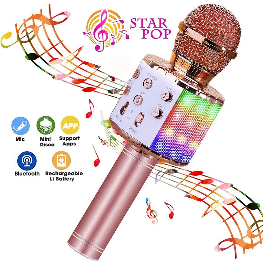 Bluetooth Wireless Microphone Karaoke Speaker With LEDs Lights Portable Battery Power Mircrophone For Kids Gifts Boys Girls KTV