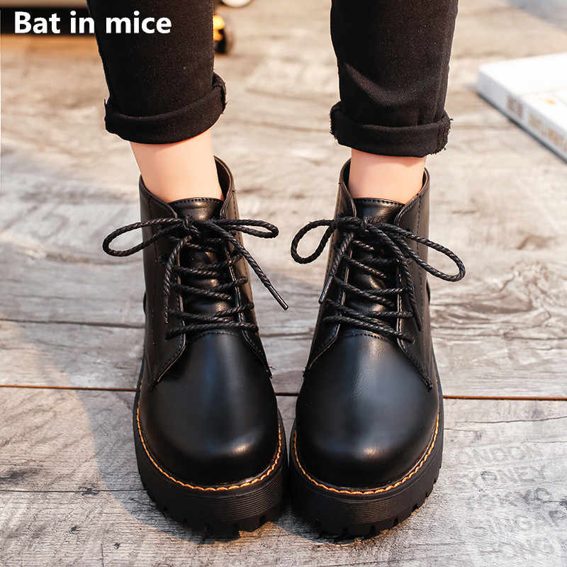 Winter Low heels Women ankle Martin boots women shoes Casual PU leather lace-up platform warm snow boots shoes woman boots T605