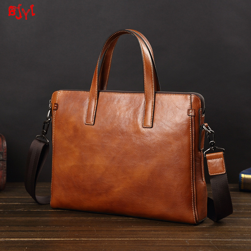 Men's Handbag Men Laptop Bag Soft Leather Briefcase Leather Shoulder Messenger Bag Business Briefcase Simple Computer Bags