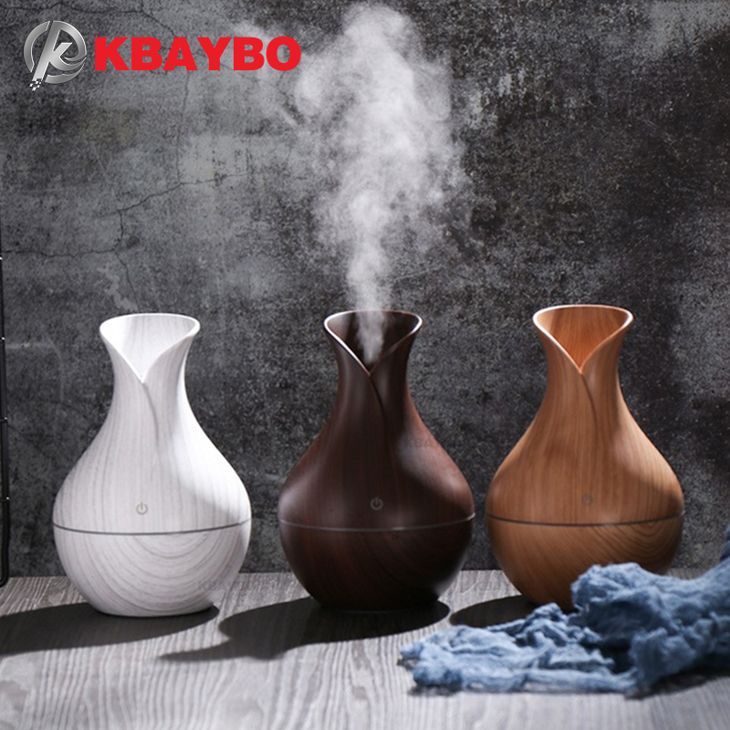KBAYBO 130ml Mini USB Aroma Diffuser Electric Humidifier Ultrasonic Wood Grain Air Humidifier With 7 Color LED Light For Home