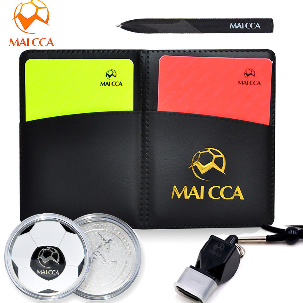 MAICCA Football Referee Toolkit Red Yellow Card Whistle Pencil Referee Recording Notebook Pick Edge Finder Coin