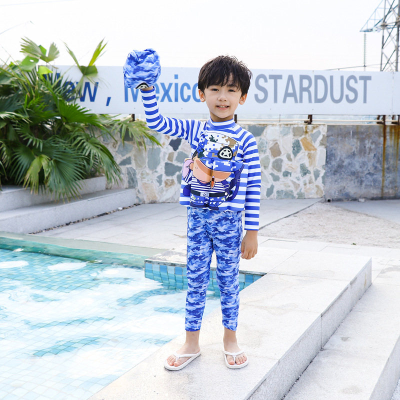Camouflage Navy Stripes KID'S Swimwear Baby CHILDREN'S BOY'S Kids Infant Floating Bathing Suit Buoyancy Bathing Suit One-piece