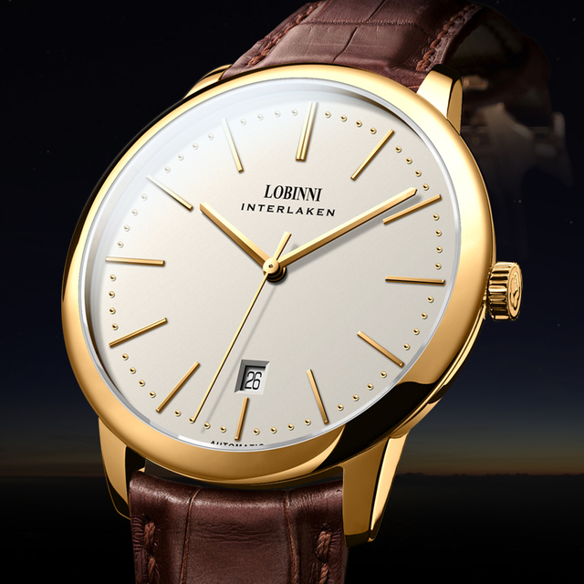 İsviçre LOBINNI erkekler saatler lüks marka venüs Chronograph manuel mekanik erkek saat safir relogio masculino L12028 4