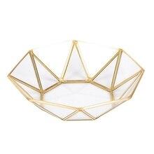 ABUI-нордический стиль латунь+ стекло геометрические корзины для хранения коробка простота Стиль Домашний Органайзер для ювелирных изделий ожерелье десертная тарелка