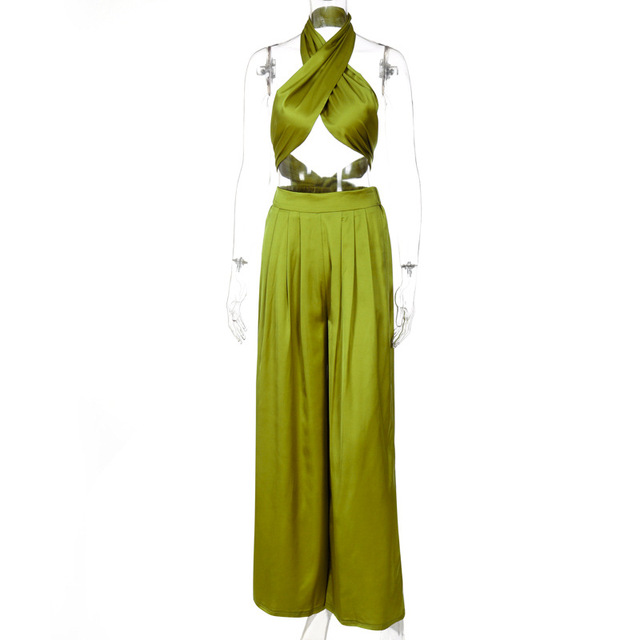 Elegant Two Piece Set Women Summer Cross Bandgae Halter Crop Top And Wide Leg Pants Outfit 6