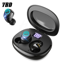 YBD Digital Display TWS 5.0 Bluetooth headphone 3D stereo wireless earphone with Touch Control
