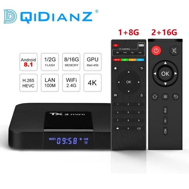DQiDianZ Android 8.1 TX3mini Smart TV BOX Amlogic Quad Core Multimediale 2.4G Wifi KD schermo di Visualizzazione Dello Schermo TX3 MINI Set top Smart box