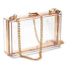 Women Acrylic Clear Transparent Crossbody Purse PVC Bag Sport Events Stadium Approved Chain Strap Gold/Silver chevron stitch pvc chain crossbody bag