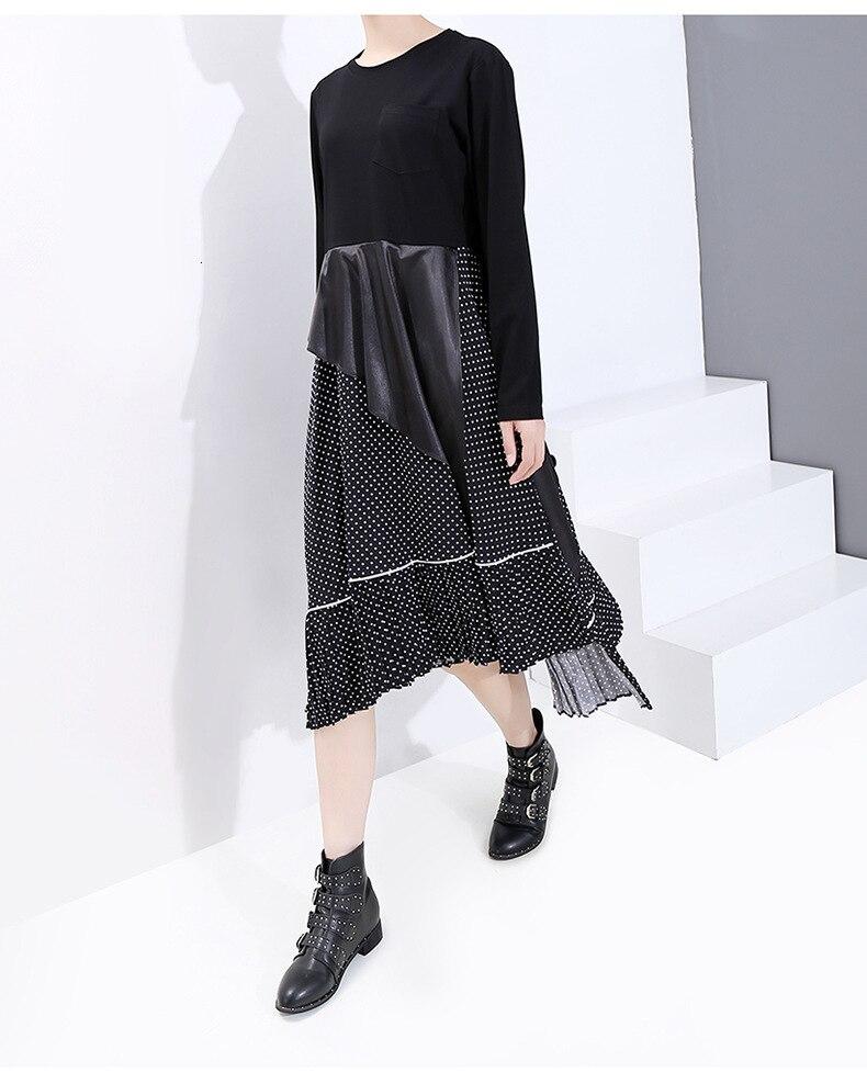 New Fashion Style Black Dot Ruffles Pleated Split Long Dress Fashion Nova Clothing