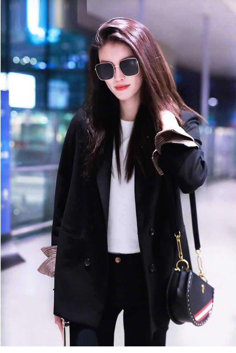 Женское пальто, осень 2019, новая мода, Повседневный, свободный, сплошной цвет, двубортный, маленький костюм, женская