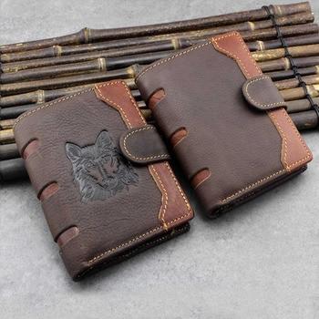 100% Genuine Leather Wallets 2019 Vintage Short Men Wallet Luxury Casual Wallet Men Coin Pocket billetera hombre porte feuille short men wallets 100