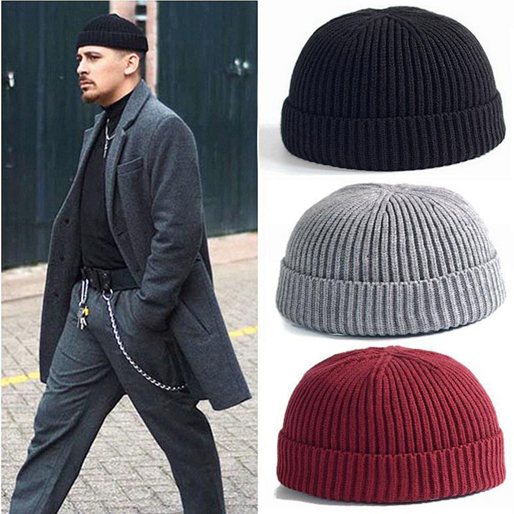 Men Winter Ribbed Knitted Cuffed Short Melon Cap Solid Color Skullcap Baggy Retro Ski Fisherman Docker Beanie Hat Slouchy