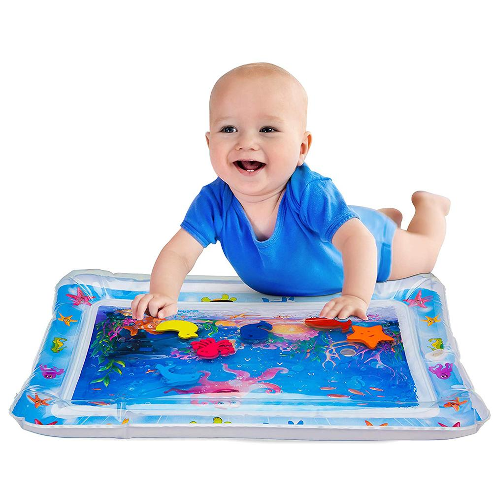 Baby Infants Inflatable Tummy Time Water Play Mat Pad Toy Airtight Fun Game Tool Develop Your Baby's Muscles Back Arms And Neck