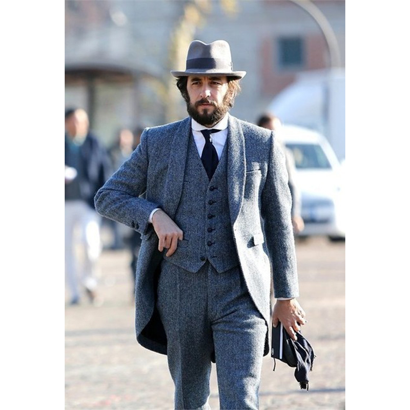 Latest Men Designer Tweed Tailcoat Suits Shawl Lapel 3 Pieces Blazer Retro Tuxedo Tailored Made Slim Fit Wedding Party