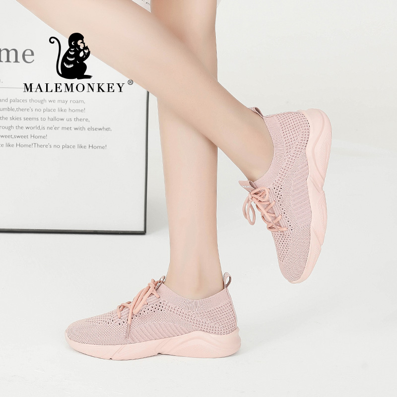 MALEMONKEY 012978 New Women Platform Sneakers 2020 Ladies Wedges Casual Height Increasing Shoes Breathable Casual Woman Shoes