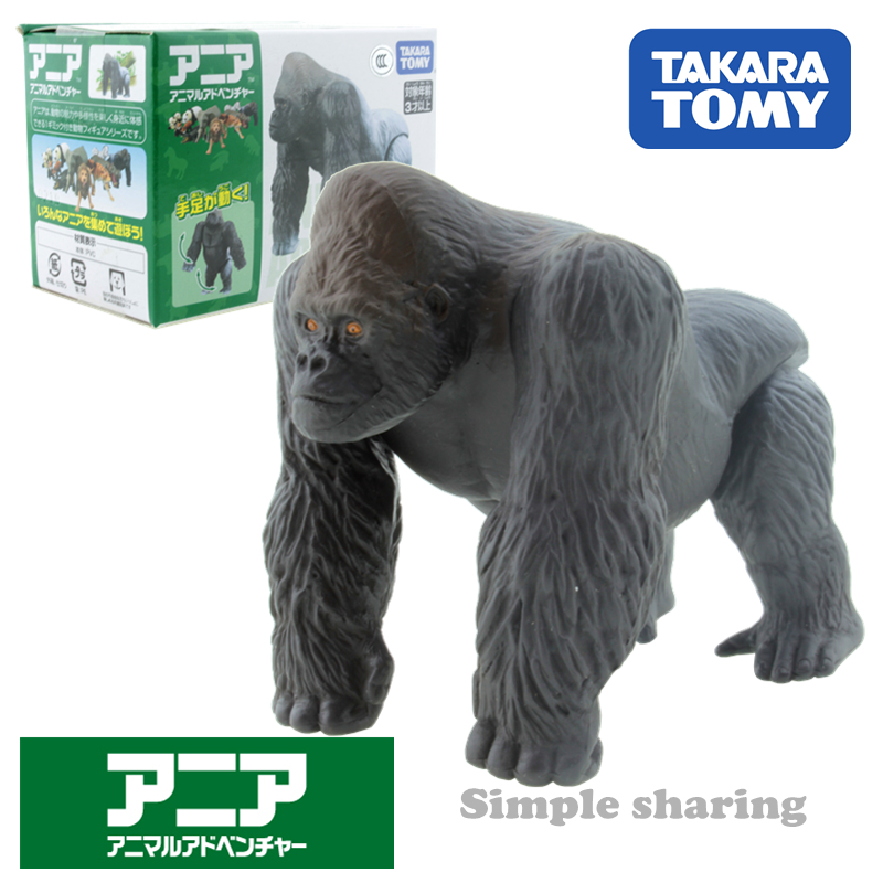 Takara Tomy Tomica Ania Animal Adventure Gorilla As 09 Diecast Resin Baby Toy Mould Funny Educational Toys Hot Pop Bauble