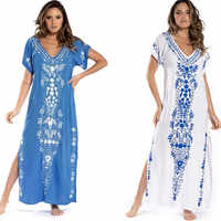 Beach Dress Pareo Summer Sexy Cover Up Skirts Plus Size Swimwear Swimsuit Woman Cotton Embroidered Skirt Outerwear For Europeans
