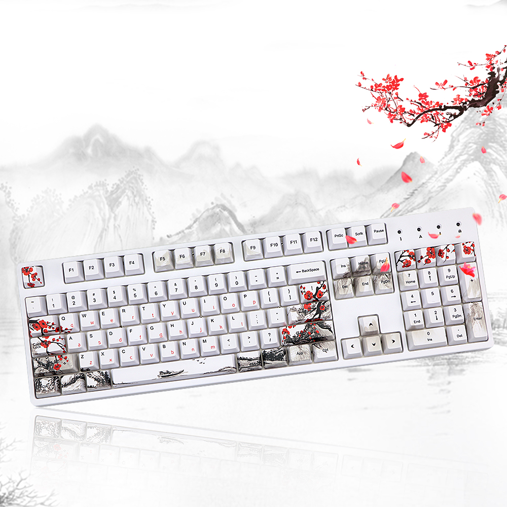 Wangjiang Plum Blossom PBT Five Sides Dye-subbed 108 Keys OEM Profile Keycap For Diy Mechanical Keyboard Keycaps