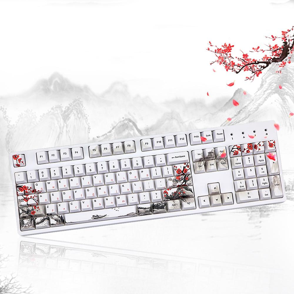 Wangjiang Plum Blossom PBT Five Sides Dye-subbed 108 Keys OEM Profile Keycap For Diy Mechanical Keyboard Keycaps