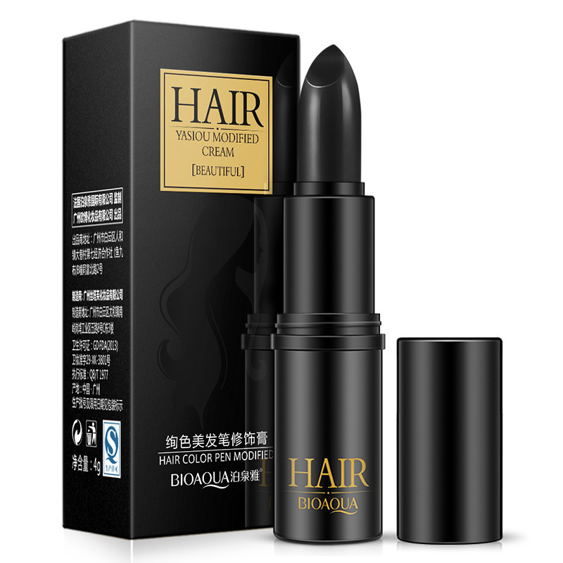 BIOAQUA Brand Black Brown Temporary Hair Dye Cream Mild Fast One-off Hair Color Pen Cover White Hair DIY Styling Makeup Stick 4g image