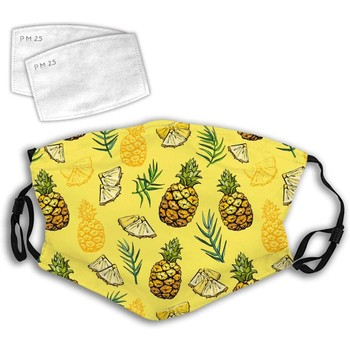 Adult Cotton Mouth Mask With 2pcs Filters Pineapple Print Reusable Dustproof Washable Face Mask Cycling Camp Mascarillas Facial