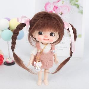 Aidolla 1/8 Peluca de muñeca de angora para largas de alta calidad muy suaves de fibra marrón caqui Bob pelucas para 1/8 muñecas BJD
