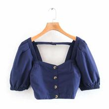 2020 women vintage lantern sleeve breasted buttons casual denim blouse